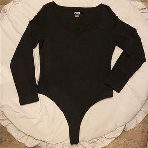 Brand new VS Pink black long sleeve bodysuit